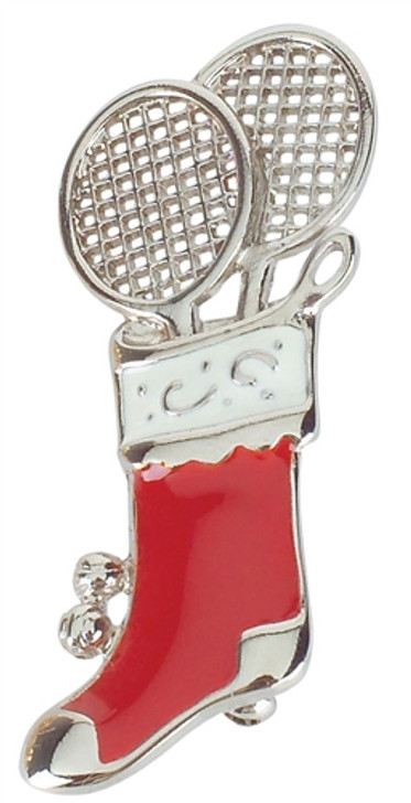 Pewter Tennis Clubs in Christmas Stocking Pin
