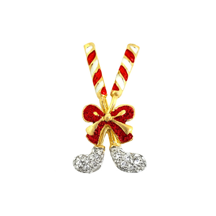 Crystal Candy Cane Crossed Clubs Christmas Pin - Set of 2