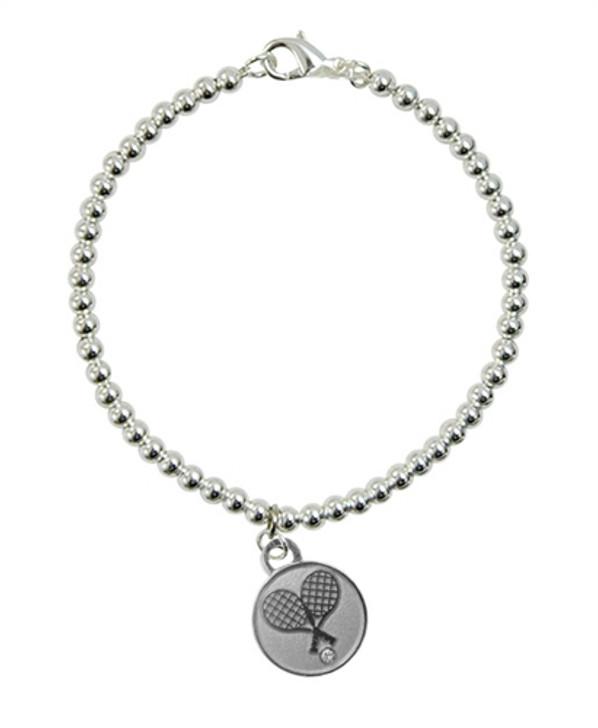 Silver Crossed Racquet Charm on 4mm Bead Bracelet