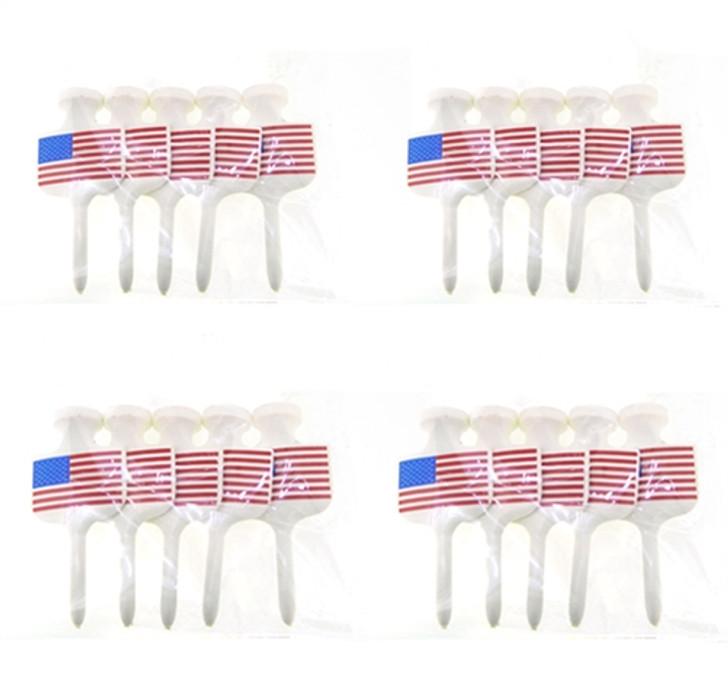2 1/4-Inch U.S. Flag Golf Tees- 4 Packs (20 Count)