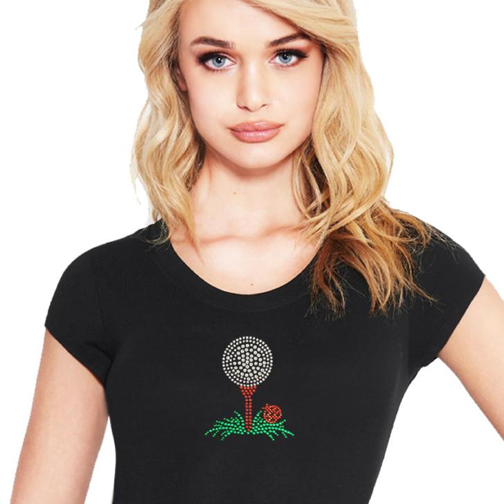 Golf Ball on Tee Crystal Black T-Shirt