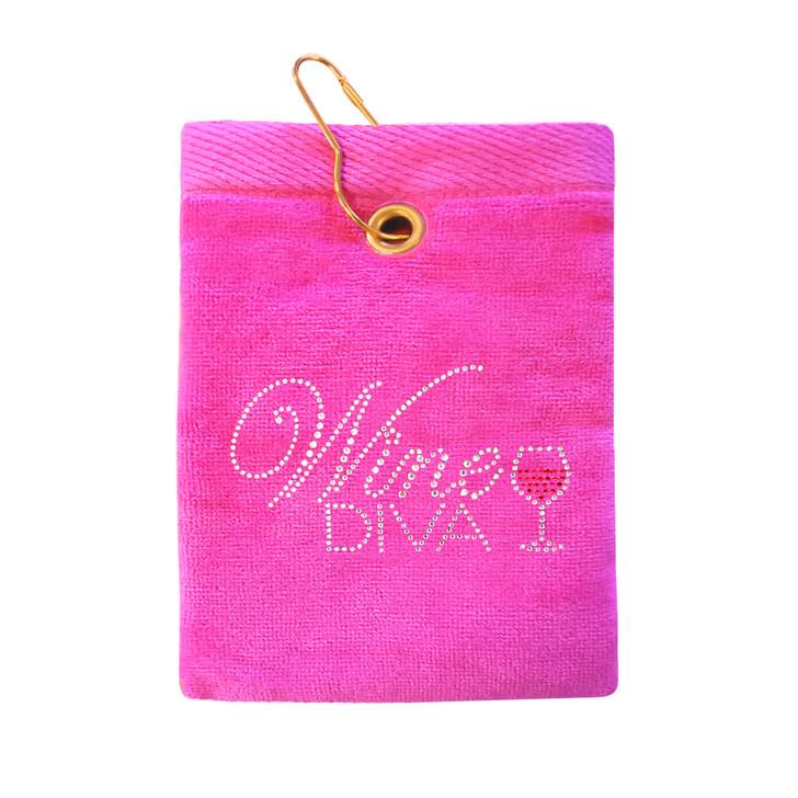 Golf Towel - Wine Diva Crystal Terry Cloth Golf Towel