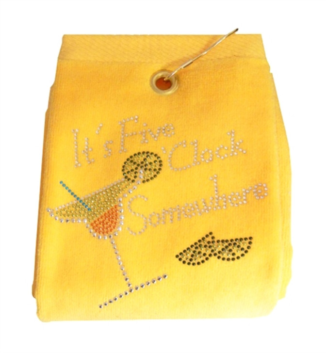 Five O'clock Somewhere Crystal Terry Cloth Golf Towel - Customize Your Towel Color!