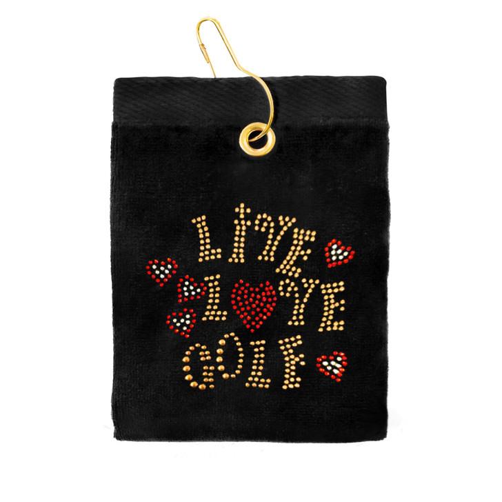 Golf Towel - Live Love Golf Crystal Terry Cloth Golf Towel