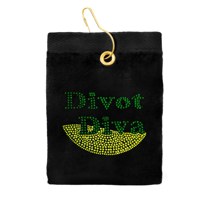Golf Towel - Divot Diva Crystal Terry Cloth Golf Towel