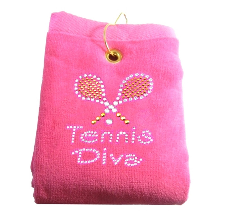 Golf Towel - Tennis Diva Crystal Terry Cloth Tennis Towel