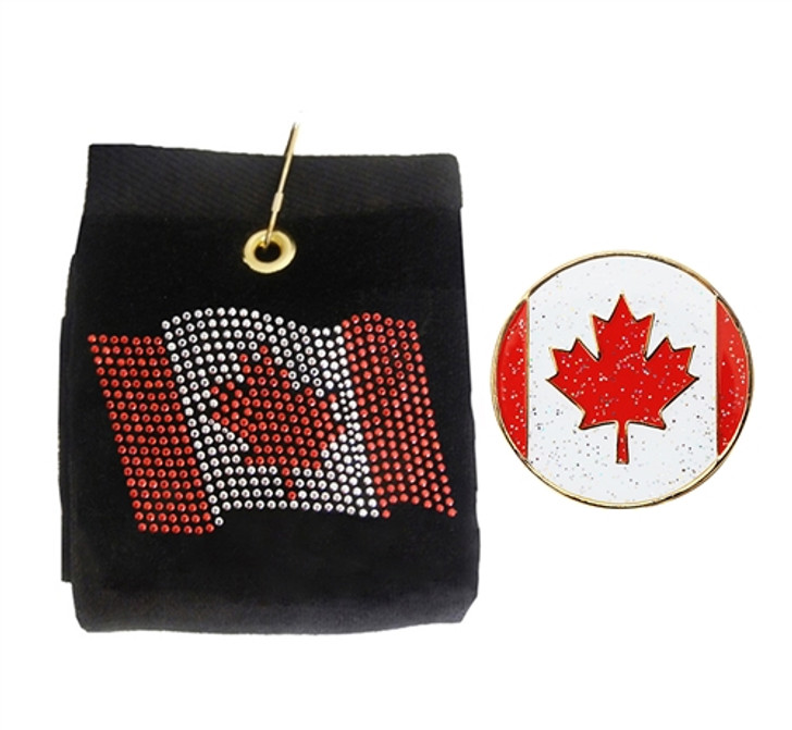 Canadian Golf Towel & Glitzy Ball Marker- Customize Your Towel Color!