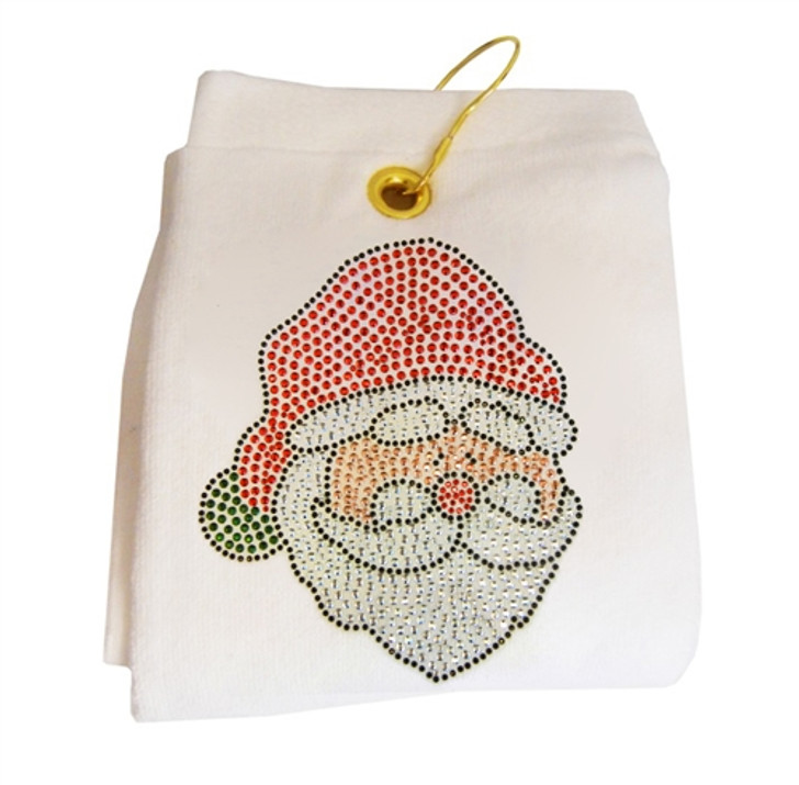 Santa Claus Rhinestud Terry Cloth Golf Towel- Customize Your Towel Color!