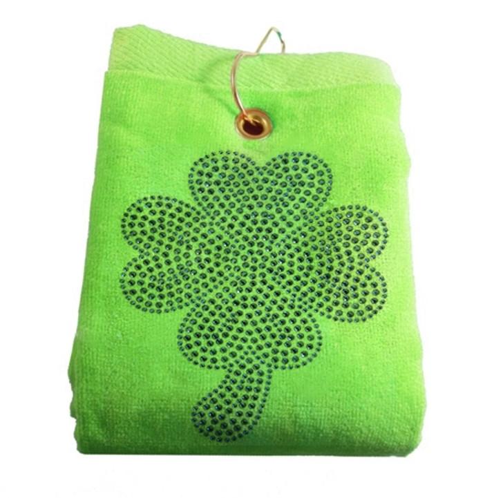 Shamrock Crystal Terry Cloth Golf Towel - Customize Your Towel Color!