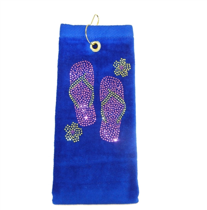 Golf Towel - Flip Flops Crystal Terry Cloth Golf Towel