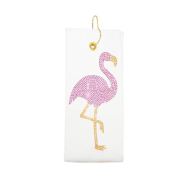 Golf Towel - Flamingo Crystal Terry Cloth Golf Towel