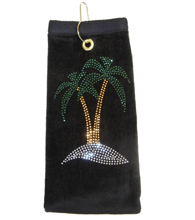 Palm Trees Crystal Terry Cloth Golf Towel - Customize Your Towel Color!