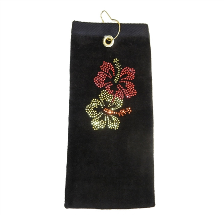 Hibiscus Crystal Terry Cloth Golf Towel - Customize Your Towel Color!