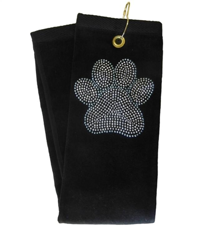 Golf Towel - Blue Paw Crystal Terry Cloth Golf Towel