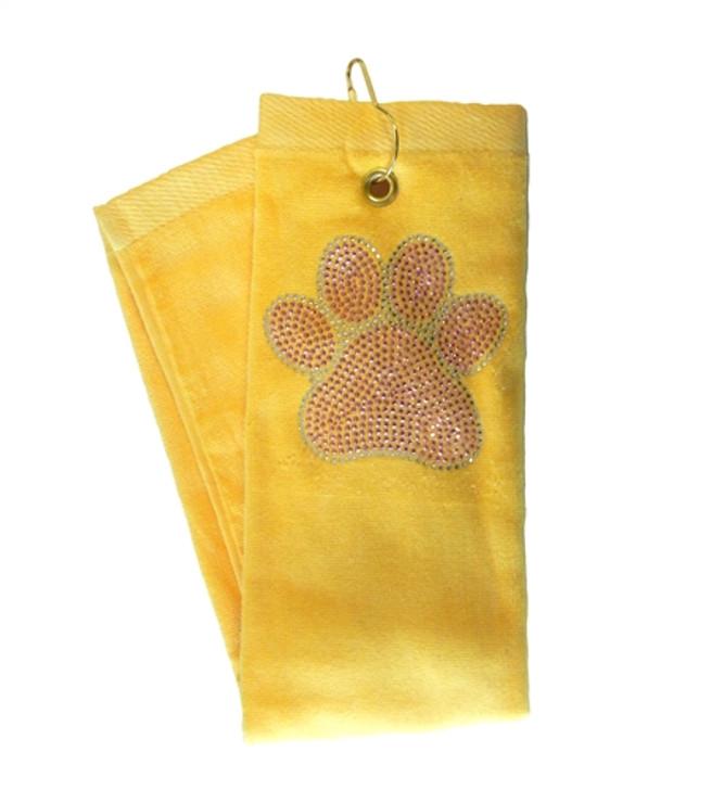 Golf Towel - Pink Paw Crystal Terry Cloth Golf Towel