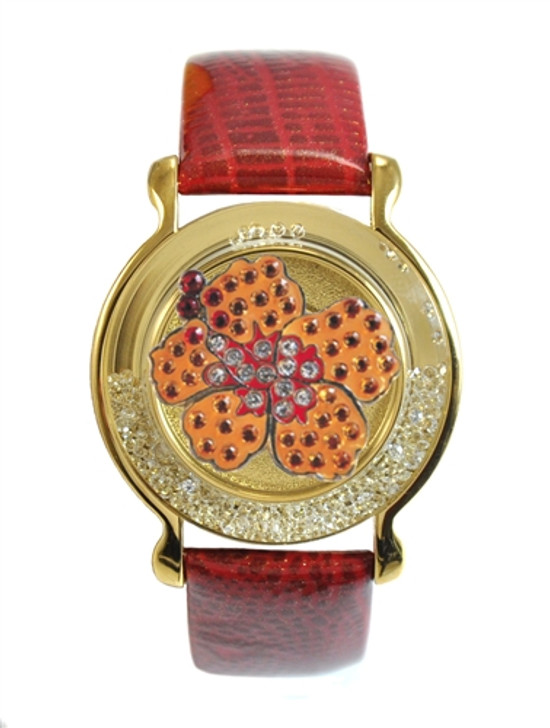 """Red Leather Mark Your Spot™ Bracelet w/ """"Orange Hibiscus"""" Ball Marker adorned with Crystals from Swarovski®"""