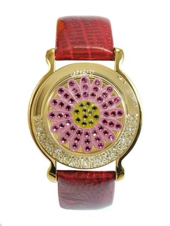 """Red Leather Mark Your Spot™ Bracelet w/ """"Pink Sunflower"""" Ball Marker adorned with Crystals from Swarovski®"""