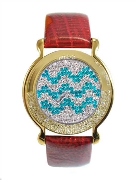 """Red Leather Mark Your Spot™ Bracelet w/ """"Chevron"""" Micro Pave Crystal Ball Marker"""