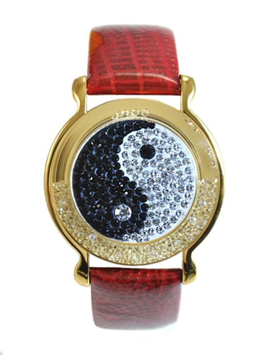 """Red Leather Mark Your Spot™ Bracelet w/ """"Yin to My Yang"""" Micro Pave Crystal Ball Marker"""