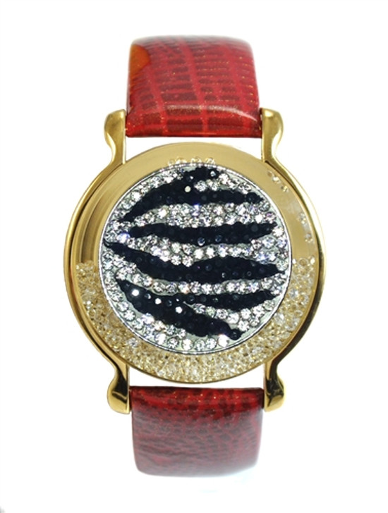 """Red Leather Mark Your Spot™ Bracelet w/ """"Zebrazz"""" Micro Pave Crystal Ball Marker"""