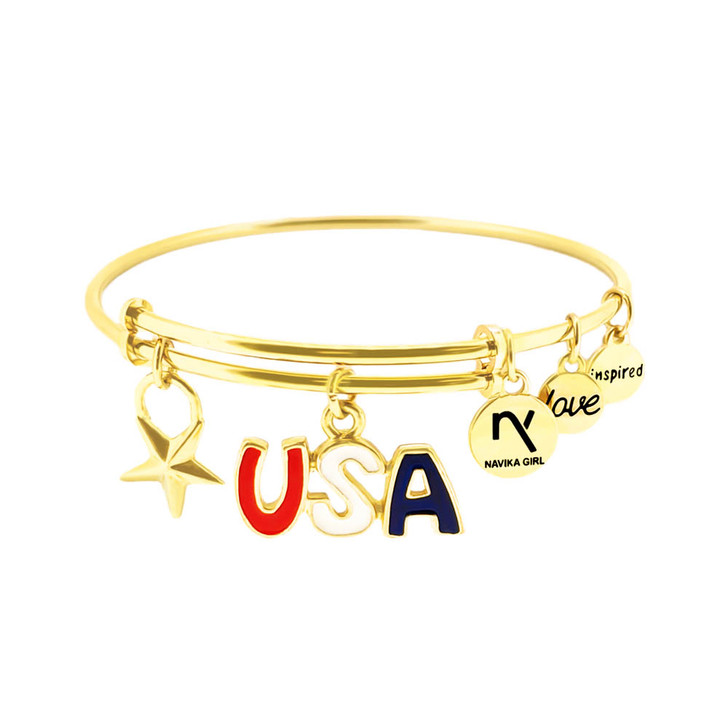 USA and Star Charm Inspired Love Bangle