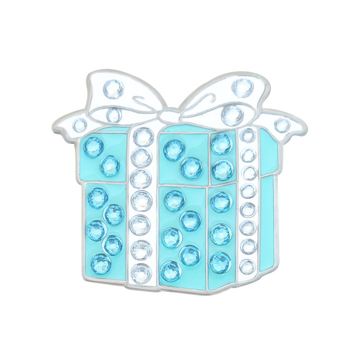 Gift Box Ball Marker adorned with Crystals from Swarovski®- with Hat Clip
