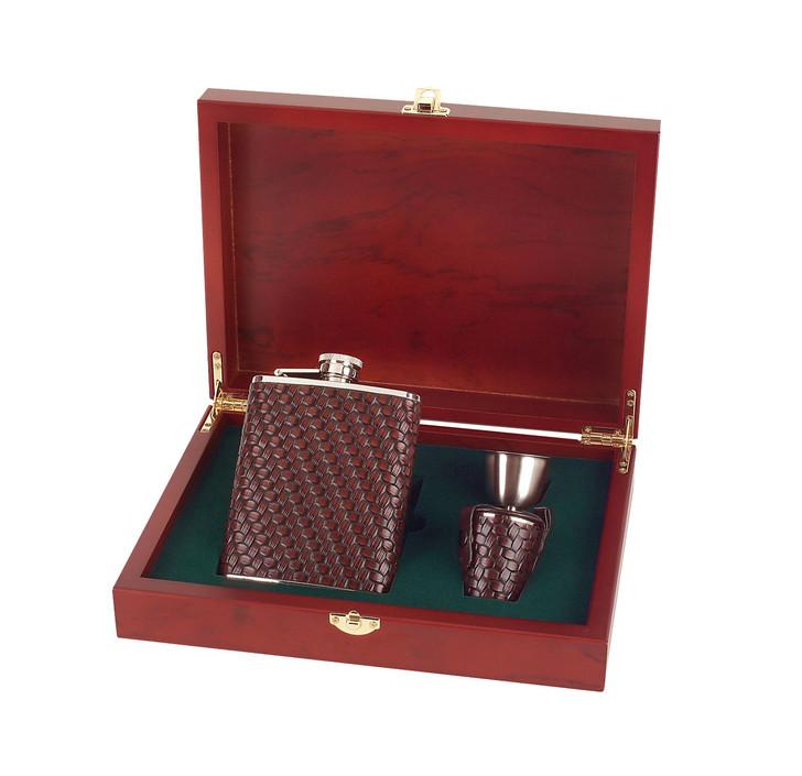Leather Encased Flask Set