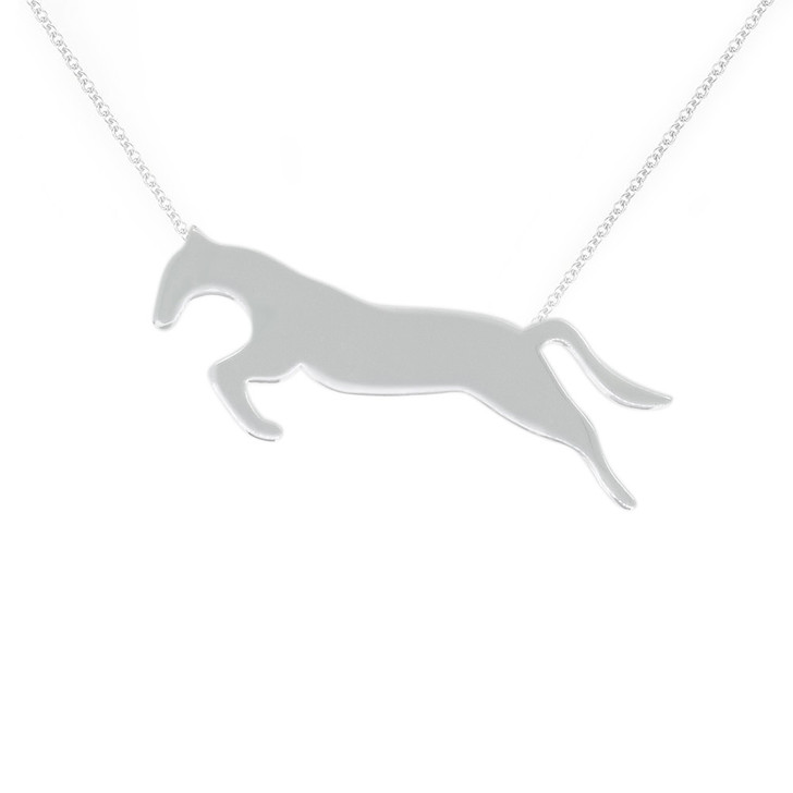 Equestrian Sterling Silver Arion Jumping Horse Necklace