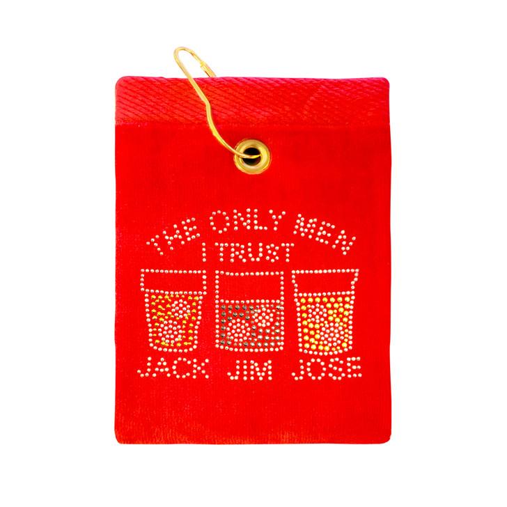 Golf Towel - The Only Men I Trust, Jack, Jim, Jose Crystal Terry Cloth Golf Towel