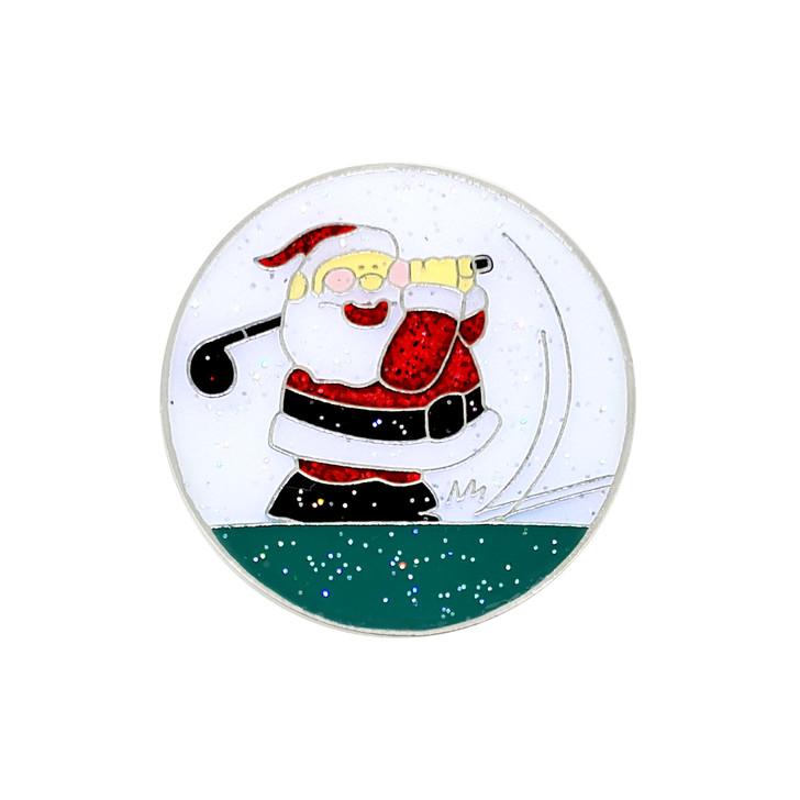 Christmas themed Glitzy Golfing Santa Ball Marker and Hat Clip