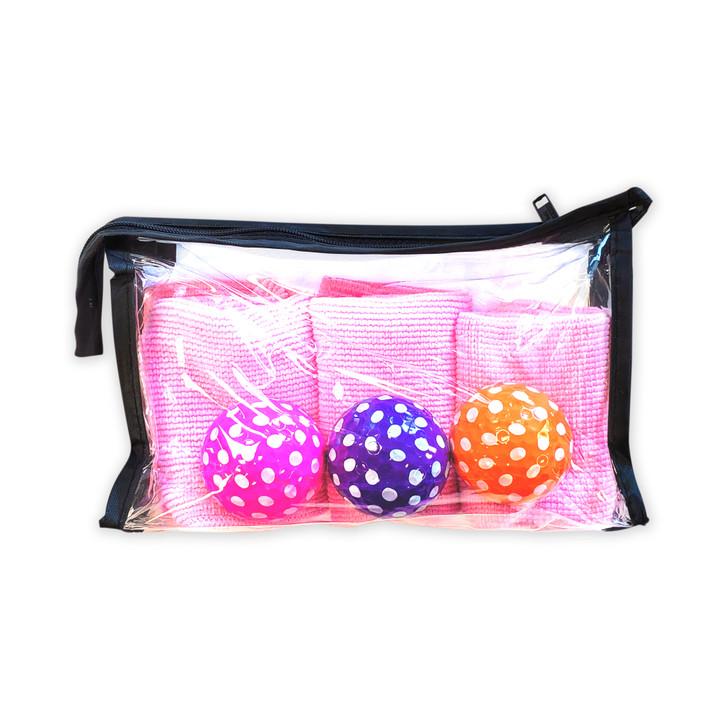 Gift Set - Clear Ditty Bag Polka Dot Golf Balls & Microfiber Towel Set