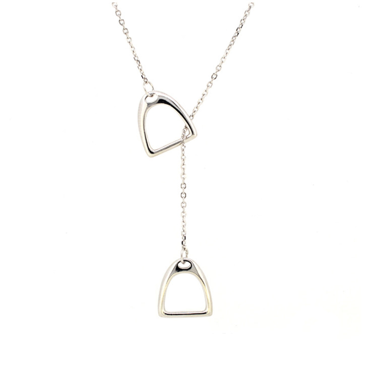 Equestrian Double Stirrup Lariat Necklace- Sterling Silver