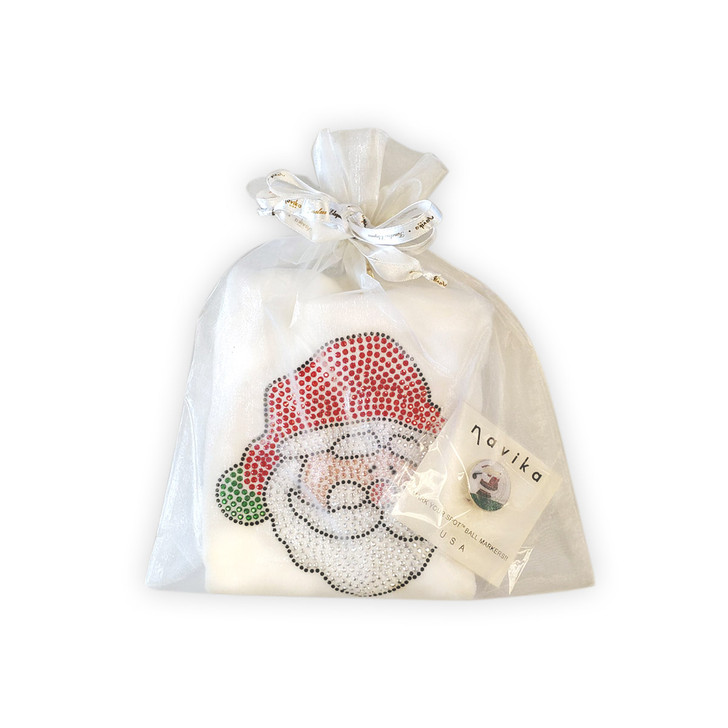 Golf Towel Gift Set - Santa Claus Towel and matching Golfing Santa Glitzy Ball Marker Set in Chiffon Pouch