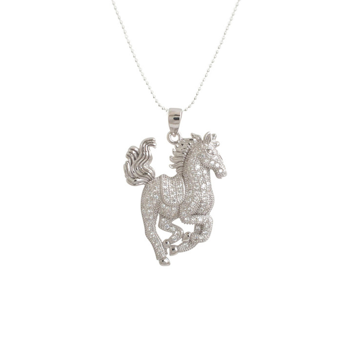 Epona Galloping Crystal Horse Necklace
