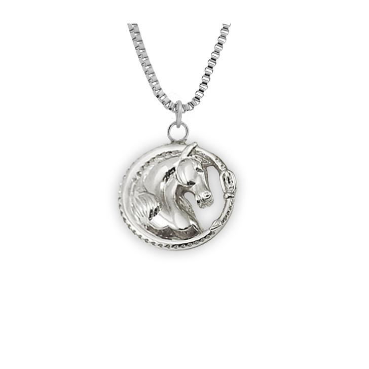 'Bardot' Horse Head Necklace In Silver