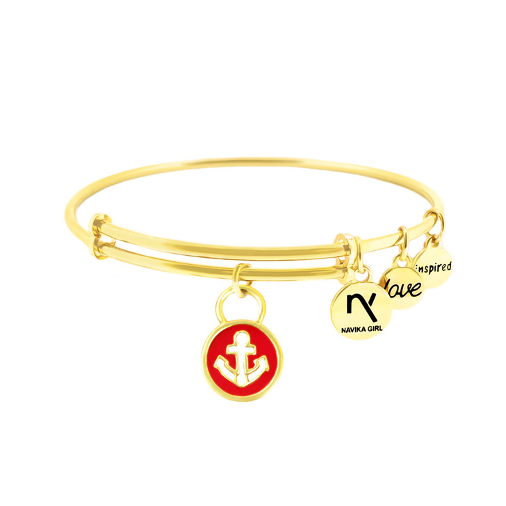 "Bangle - Round Anchor Charm in Red, ""Inspired, Love"" Gold Bangle"
