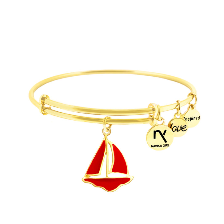 """Bangle - Sailboat Charm in Red, """"Inspired, Love"""" Gold Bangle"""