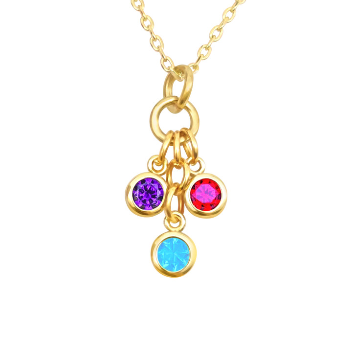 Birthstone Necklace Gold With One Charm - Choose your Charms