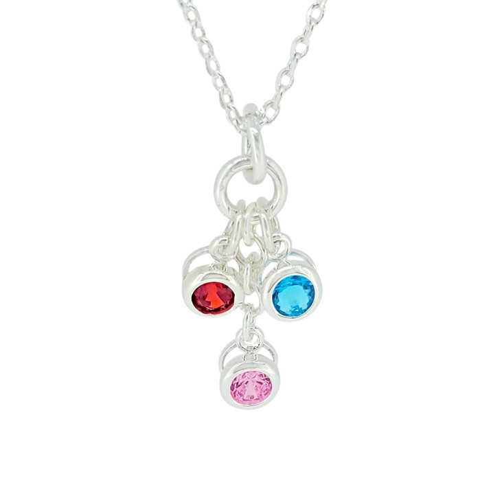 Birthstone Necklace Silver With One Charm - Choose your Charms