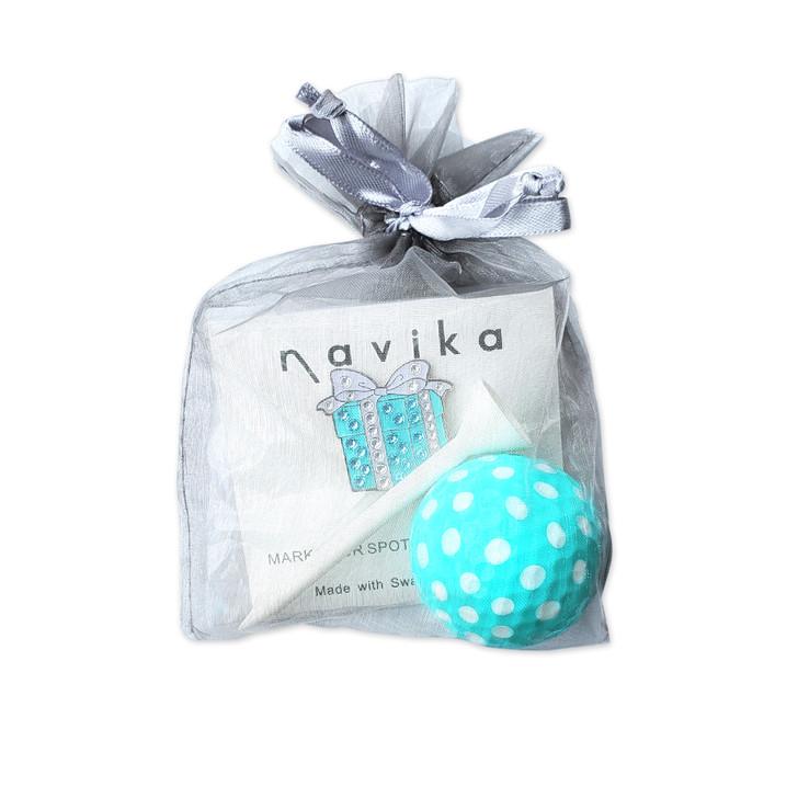 Gift Set - Gift Box Crystal Ball Marker, Tiffany Blue Golf Ball and Tee Set