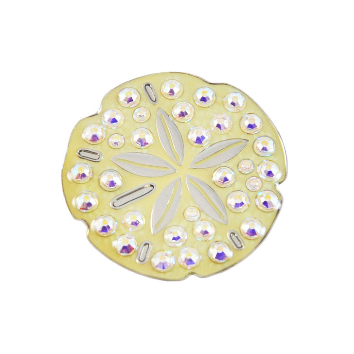 Sand Dollar Ball Marker adorned with Crystals from Swarovski®- with Hat Clip