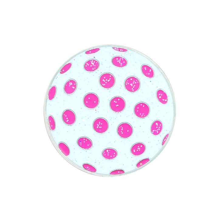 Polka Dot White & Pink Glitzy Ball Marker with Hat Clip