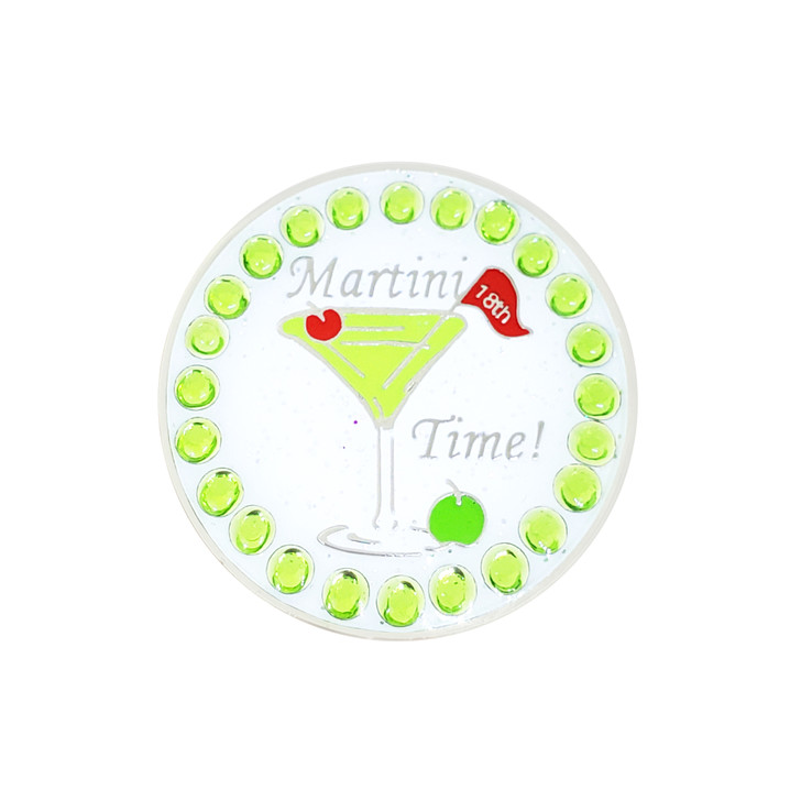 Martini Time Ball Marker adorned with Crystals from Swarovski®- with Hat Clip