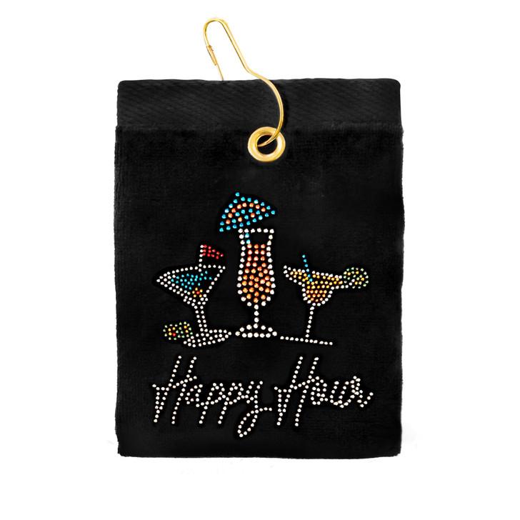 Golf Towel - Happy Hour Crystal Terry Cloth Golf Towel