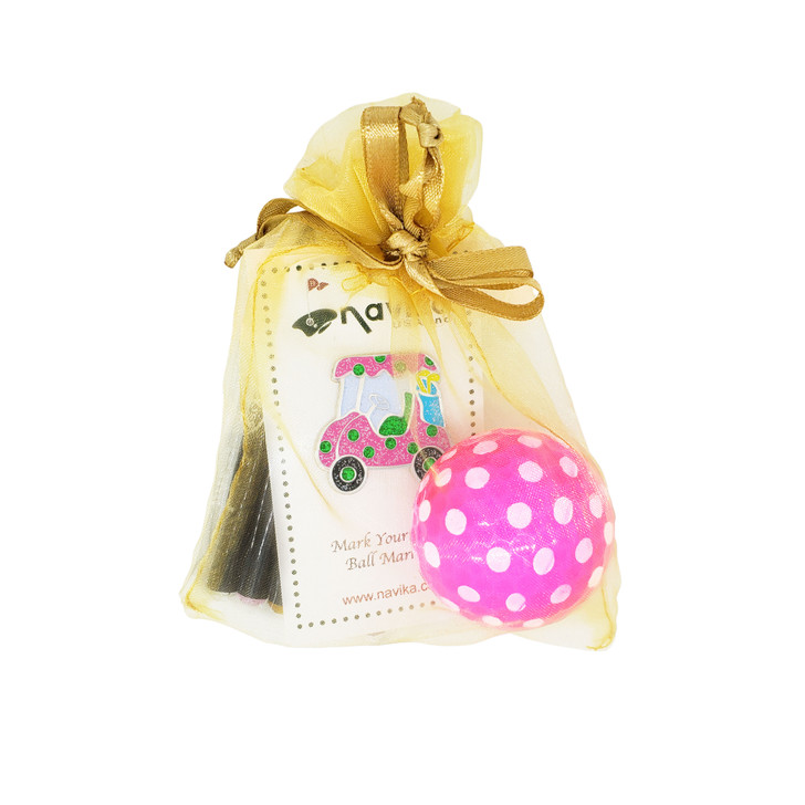 Gift Set  - Crystal Pencils Gift Set with Sparkly Cart Glitzy Ball Marker & Polka Pink/White Golf Ball