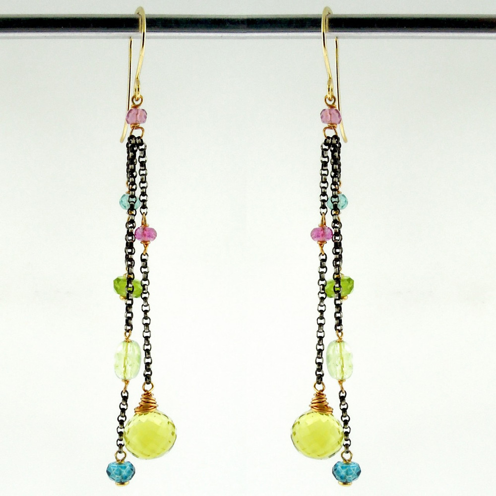 dancing queen - tango lemon quartz OX earrings