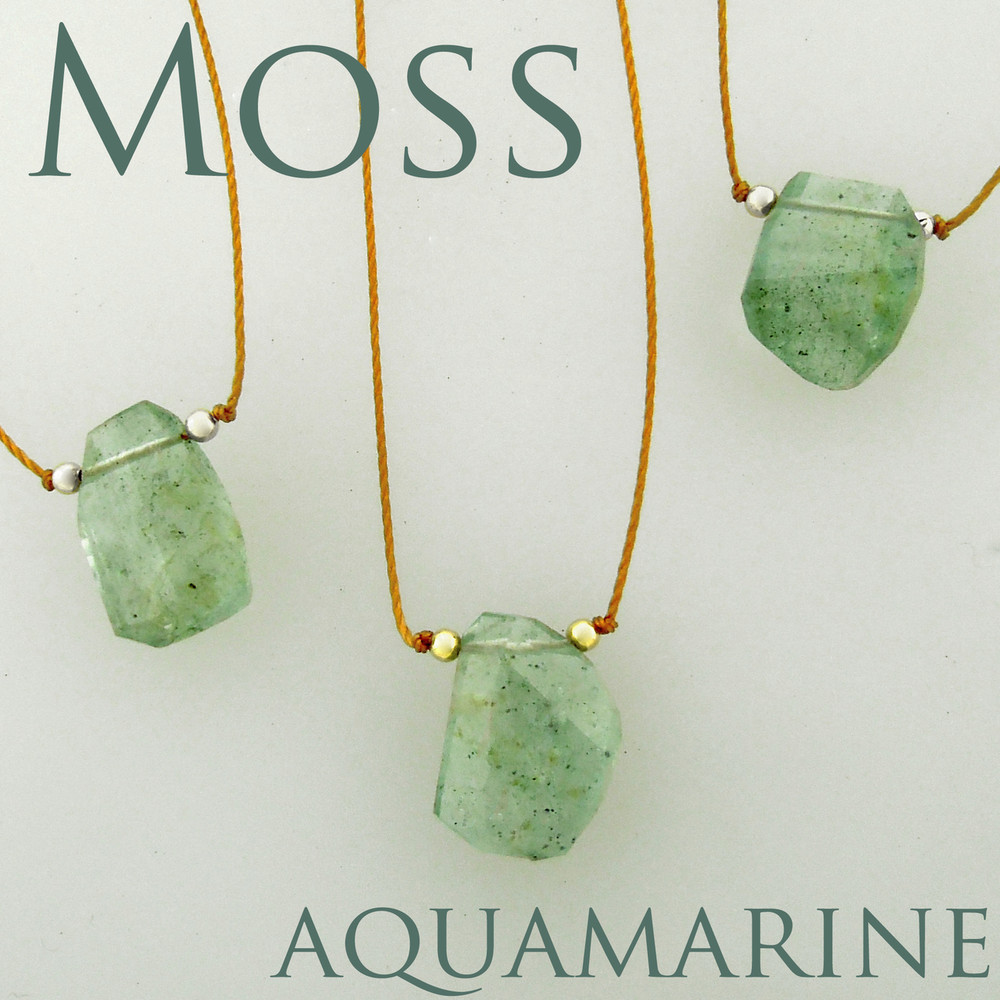 solo nugget  moss aquamarine step cut