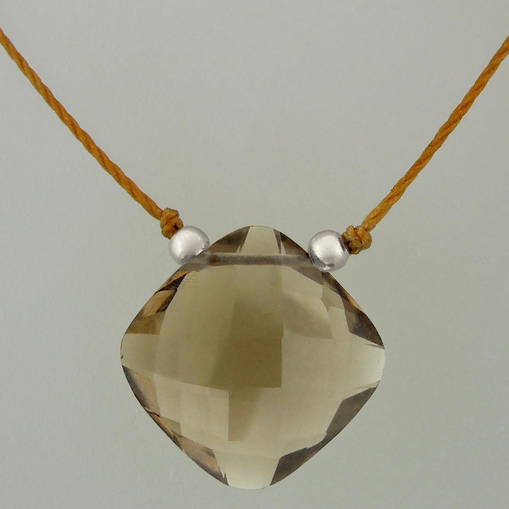 solo cushion - smoky quartz 4c