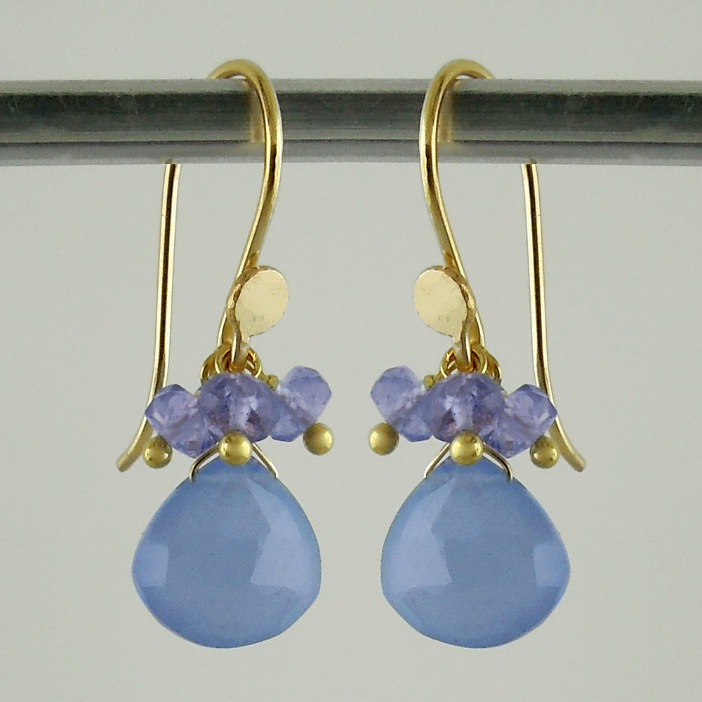 pop tops - chalcedony/tanzanite 18kt ER