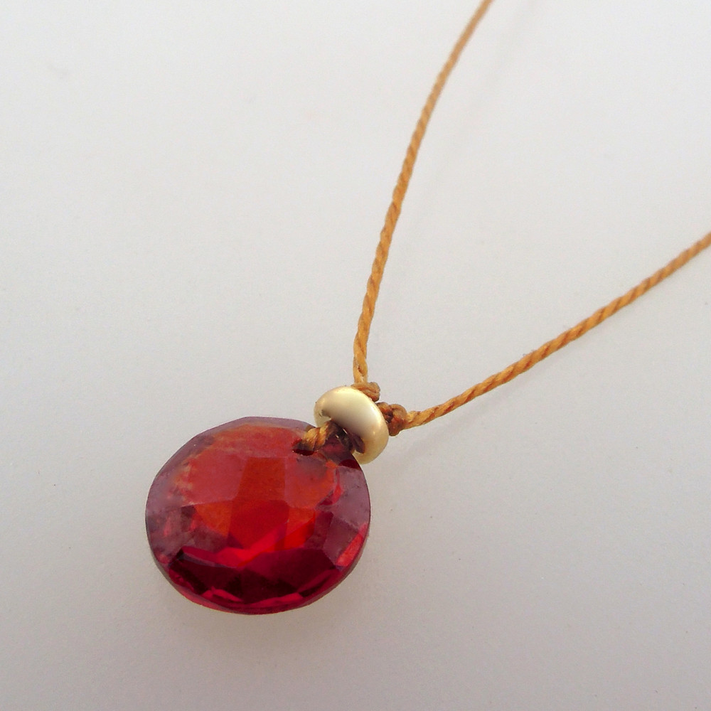 garnet Cutie Pie Necklace with 14kt gold fill accents